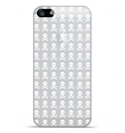 Coque en silicone Apple iPhone 5 SE - Tete de mort blanc