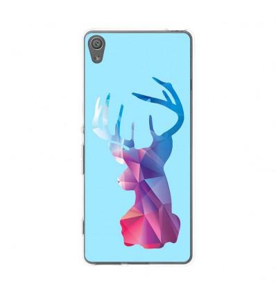 Coque en silicone Sony Xperia XA - Cerf Hipster Bleu