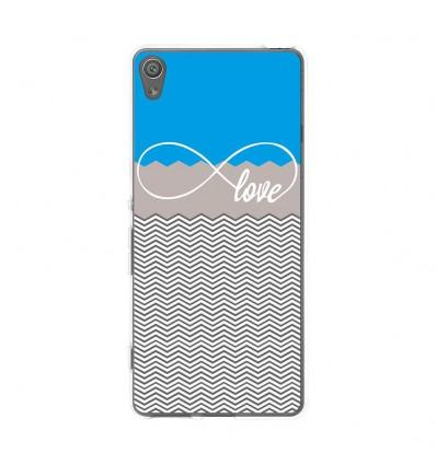 Coque en silicone Sony Xperia XA - Love bleu
