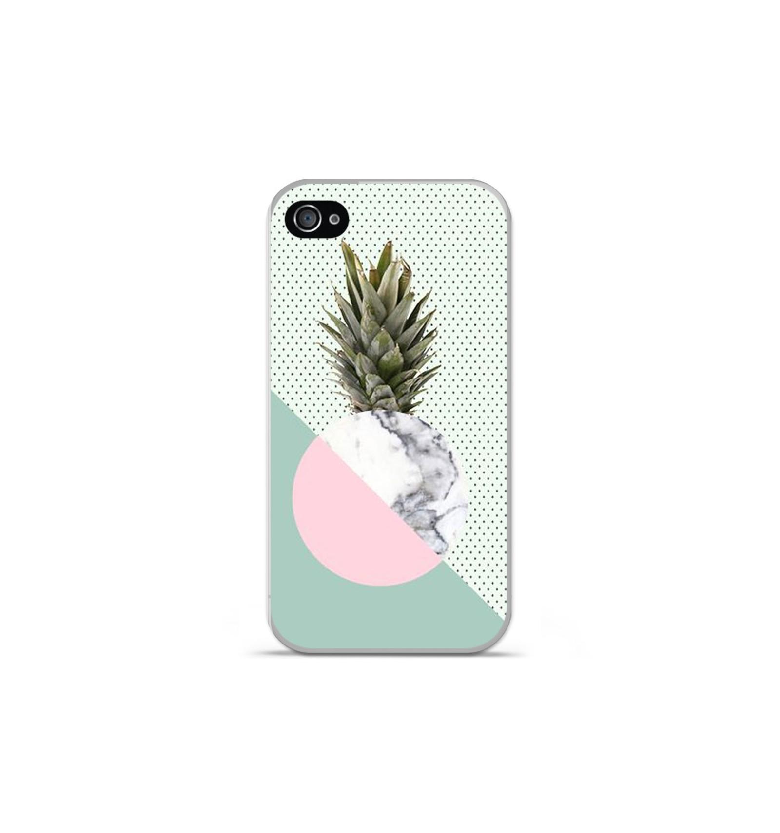 coque en silicone apple iphone 4 4s ananas marbre