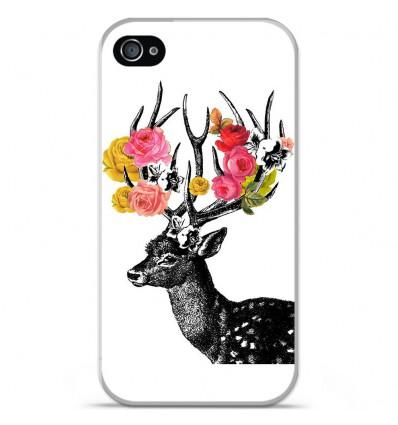 Coque en silicone Apple iPhone 4 / 4S - Cerf fleurs