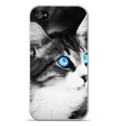 Coque en silicone Apple iPhone 4 / 4S - Chat yeux bleu