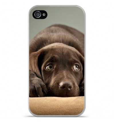 Coque en silicone Apple iPhone 4 / 4S - Chiot marron