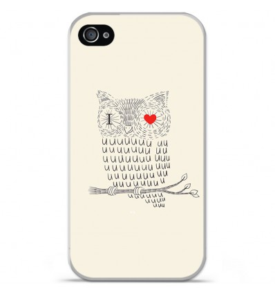 Coque en silicone Apple iPhone 4 / 4S - I Love Hiboux