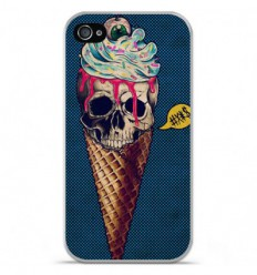 Coque en silicone Apple iPhone 4 / 4S - Ice cream skull blue