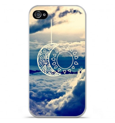 Coque en silicone Apple iPhone 4 / 4S - Lune soleil