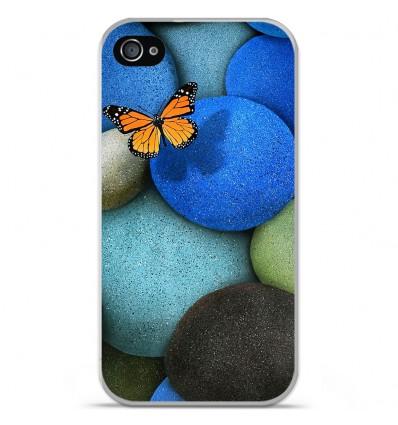 Coque en silicone Apple iPhone 4 / 4S - Papillon galet bleu