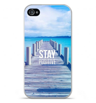 Coque en silicone Apple iPhone 4 / 4S - Stay positive