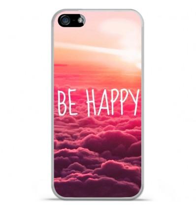 Coque en silicone Apple IPhone 5 / 5S - Be Happy nuage