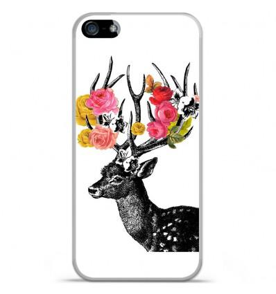 Coque en silicone Apple IPhone 5 / 5S - Cerf fleurs