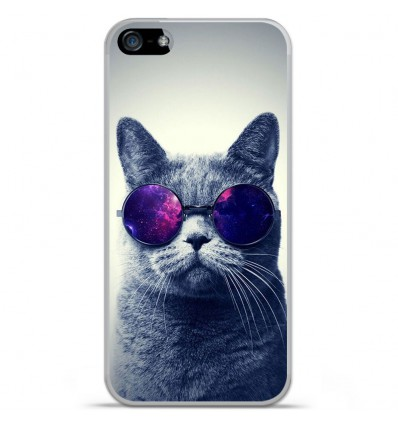 Coque en silicone Apple IPhone 5 / 5S - Chat à lunette