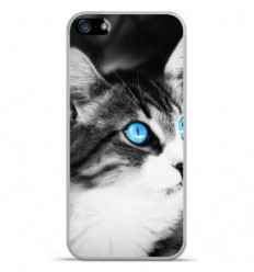 Coque en silicone Apple IPhone 5 / 5S - Chat yeux bleu