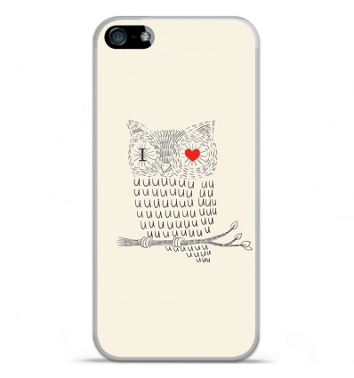 Coque en silicone Apple IPhone 5 / 5S - I Love Hiboux