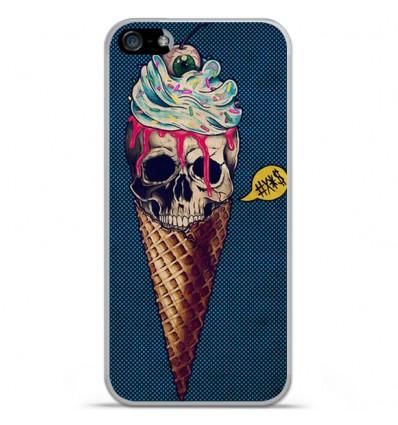 Coque en silicone Apple IPhone 5 / 5S - Ice cream skull blue