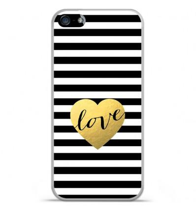 Coque en silicone Apple IPhone 5 / 5S - Love bariolé