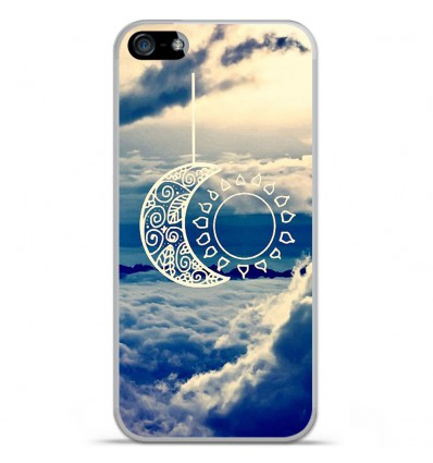 Coque en silicone Apple IPhone 5 / 5S - Lune soleil