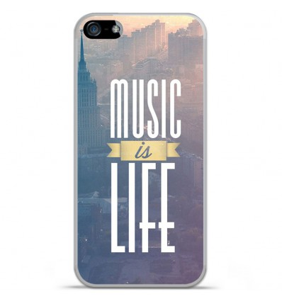 Coque en silicone Apple iPhone 5 / 5S - Music is life