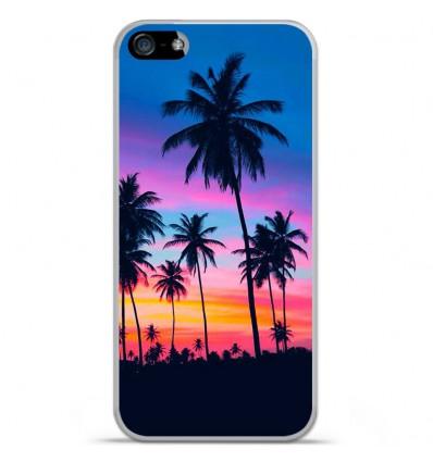 Coque en silicone Apple IPhone 5 / 5S - Palmiers colorés