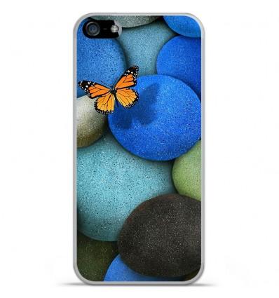 Coque en silicone Apple IPhone 5 / 5S - Papillon galet bleu