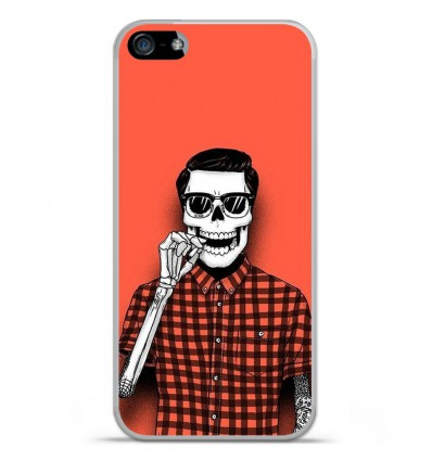 Coque en silicone Apple IPhone 5 / 5S - Skull Hipster red shirt