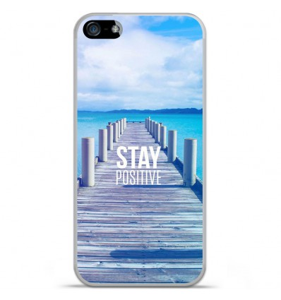Coque en silicone Apple IPhone 5 / 5S - Stay positive