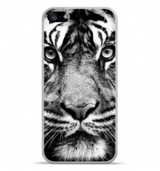 Coque en silicone Apple IPhone 5 / 5S - Tigre blanc et noir
