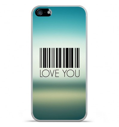 Coque en silicone Apple iPhone 5C - Code barre Love you