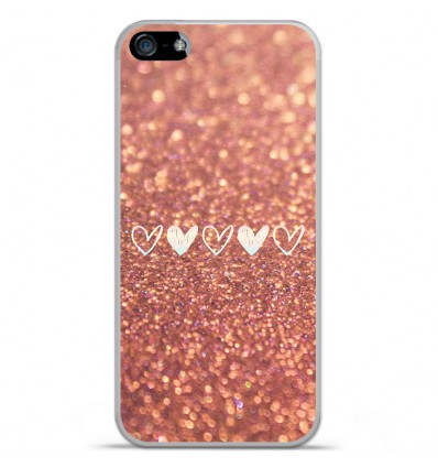 Coque en silicone Apple iPhone 5C - Paillettes coeur