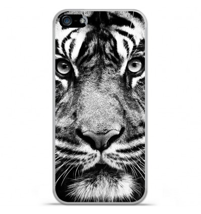 Coque en silicone Apple iPhone 5C - Tigre blanc et noir