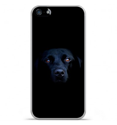 Coque en silicone Apple iPhone SE - Chien noir