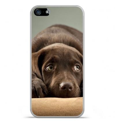 Coque en silicone Apple iPhone SE - Chiot marron