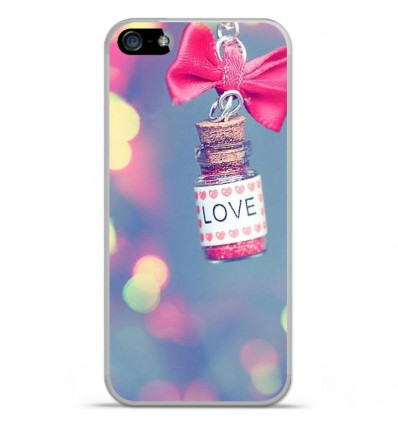 Coque en silicone Apple iPhone SE - Love noeud rose