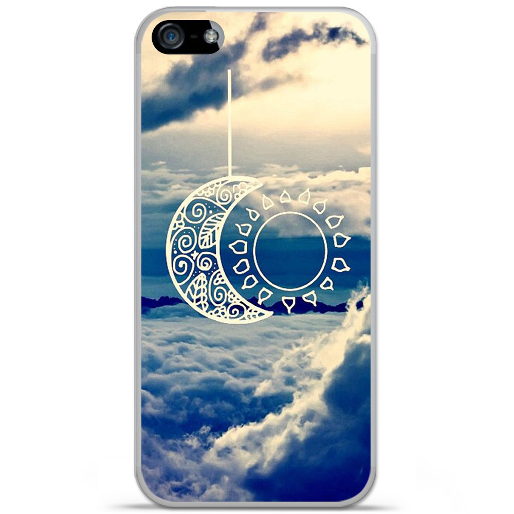 Coque en silicone Apple iPhone SE - Lune soleil
