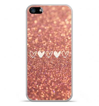 Coque en silicone Apple iPhone SE - Paillettes coeur