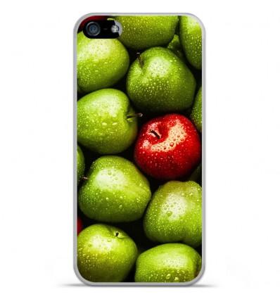 Coque en silicone Apple iPhone SE - Pommes
