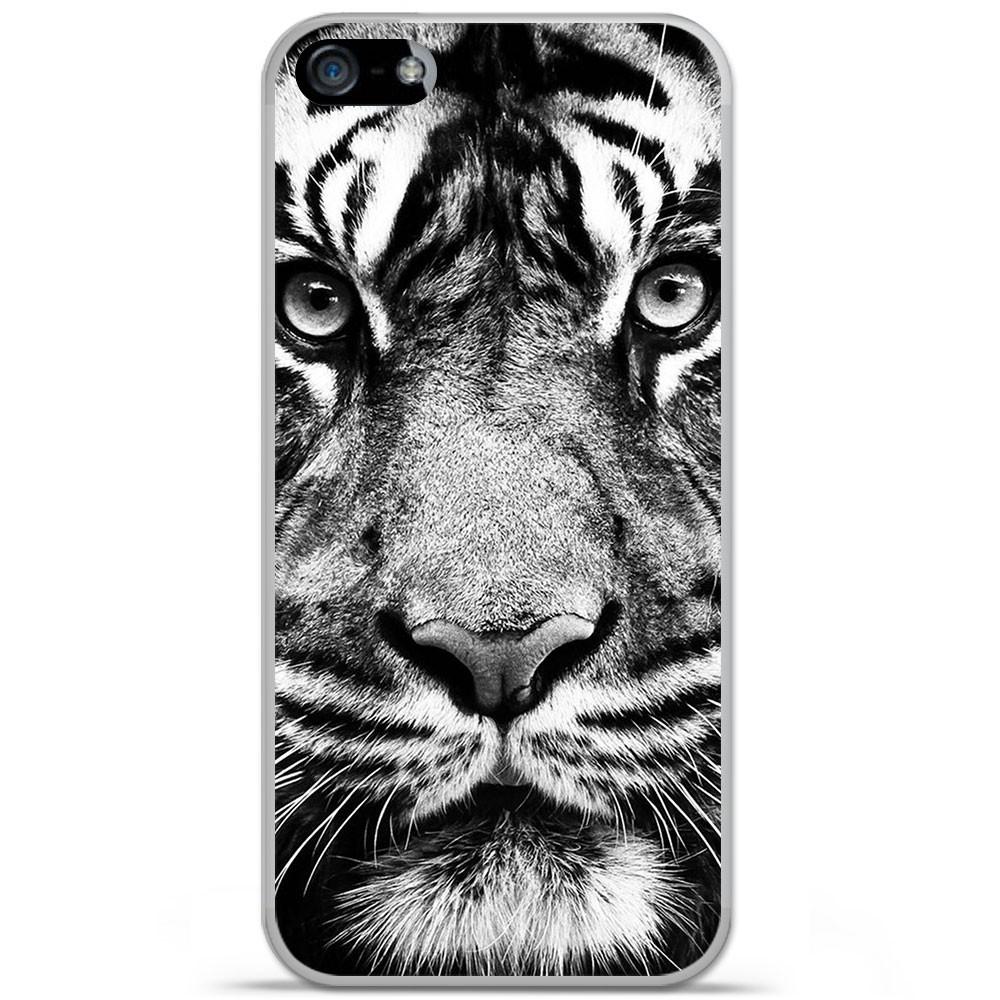 Coque en silicone Apple iPhone SE - Tigre blanc et noir