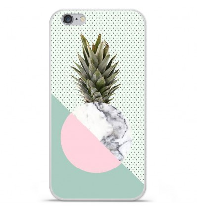 Coque en silicone Apple iPhone 6 / 6S - Ananas marbre