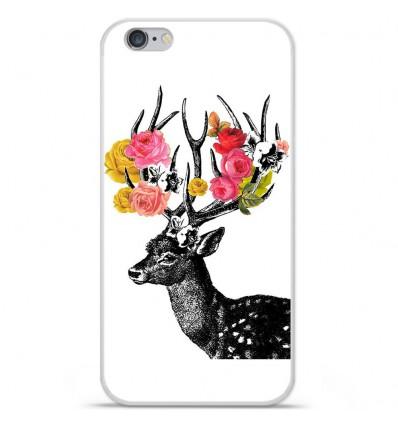 Coque en silicone Apple iPhone 6 / 6S - Cerf fleurs
