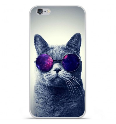 Coque en silicone Apple iPhone 6 / 6S - Chat à lunette