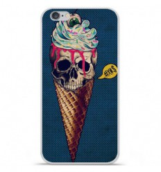 Coque en silicone Apple iPhone 6 / 6S - Ice cream skull blue