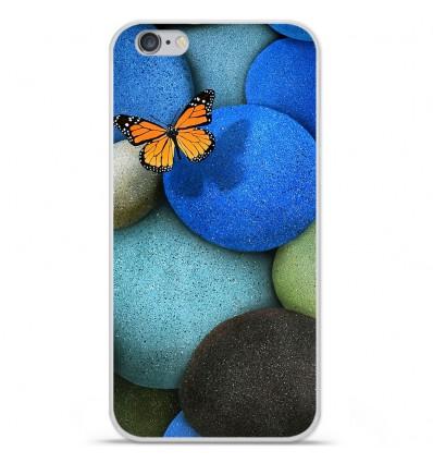 Coque en silicone Apple iPhone 6 / 6S - Papillon galet bleu