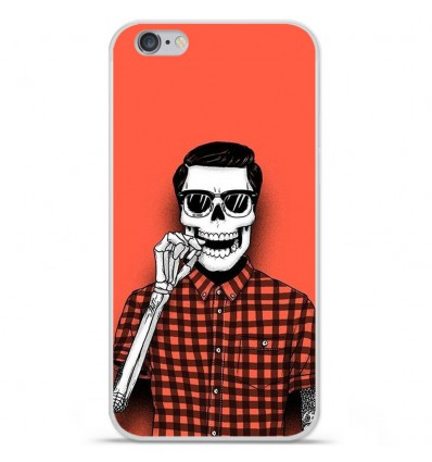 Coque en silicone Apple iPhone 6 / 6S - Skull Hipster red shirt