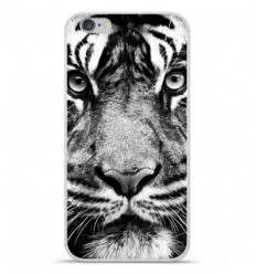 Coque en silicone Apple iPhone 6 / 6S - Tigre blanc et noir