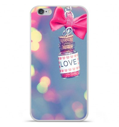 Coque en silicone Apple iPhone 6 Plus / 6S Plus - Love noeud rose