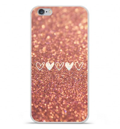 Coque en silicone Apple iPhone 6 Plus / 6S Plus - Paillettes coeur