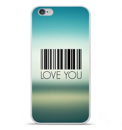 Coque en silicone Apple IPhone 7 - Code barre Love you