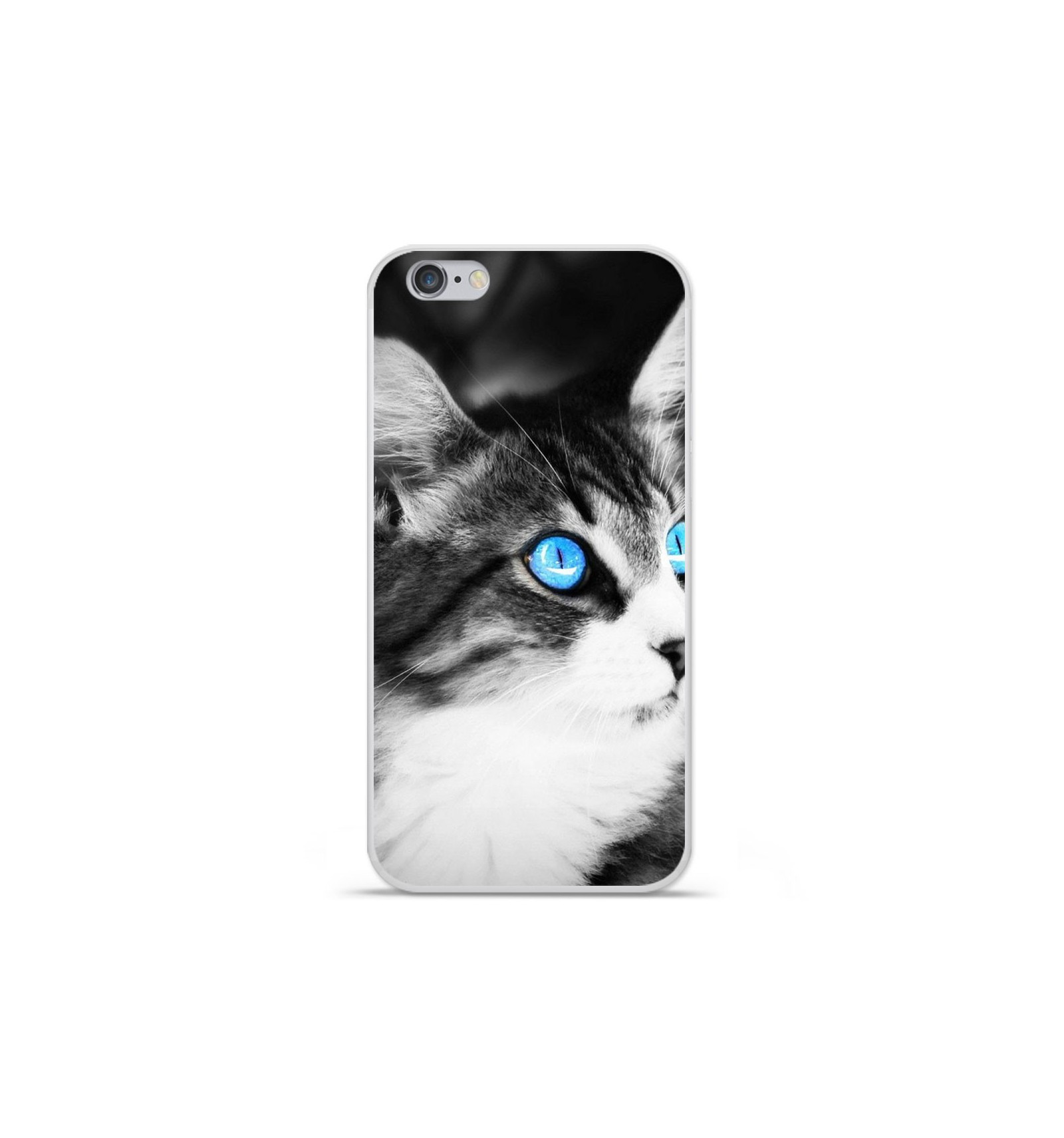 coque en silicone apple iphone 7 plus chat yeux bleu