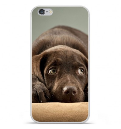 Coque en silicone Apple iPhone 7 Plus - Chiot marron