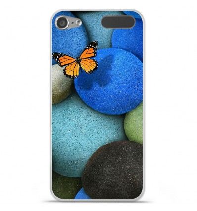 Coque en silicone Apple iPod Touch 5 / 6 - Papillon galet bleu