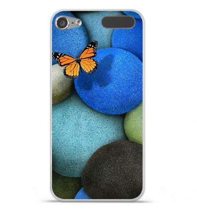 Coque en silicone Apple iPod Touch 5 / 6 - Papillon galet bleu
